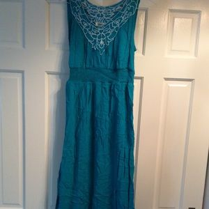 Teal Embroiders Dress